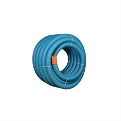 Uponor 128/113 mm PVC-drænrør med 2,3 x 7 mm slids, 50 m, blå